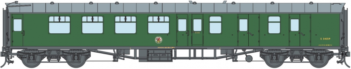 O Gauge BR SR Green BSK S34159 DCC Fitted