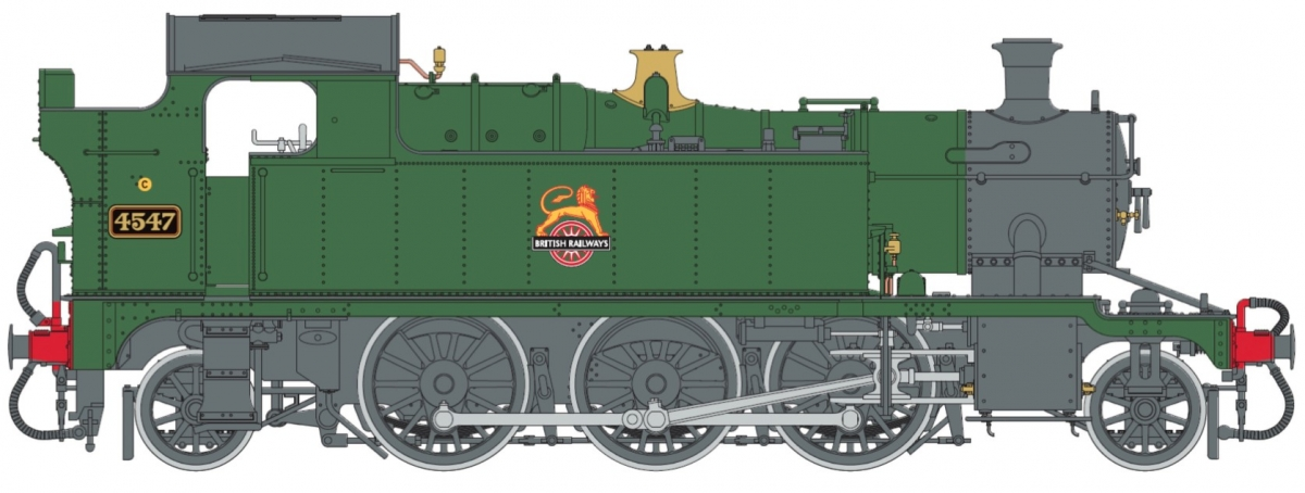O Gauge 45XX B.R. Lined Green Early Crest 4547 DCC Sound Fitted